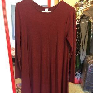 Long sleeve, heathered swing dress